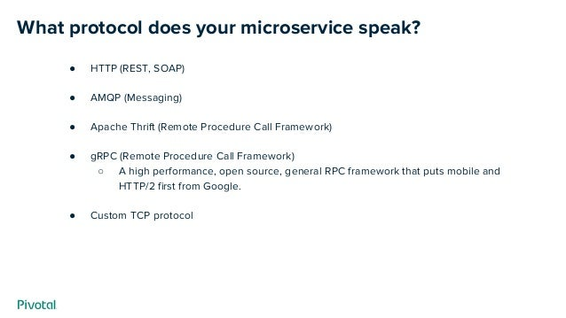 What protocol does your microservice speak? ● HTTP (REST, SOAP) ● AMQP (Messaging) ● Apache Thrift (Remote Procedure Call ...