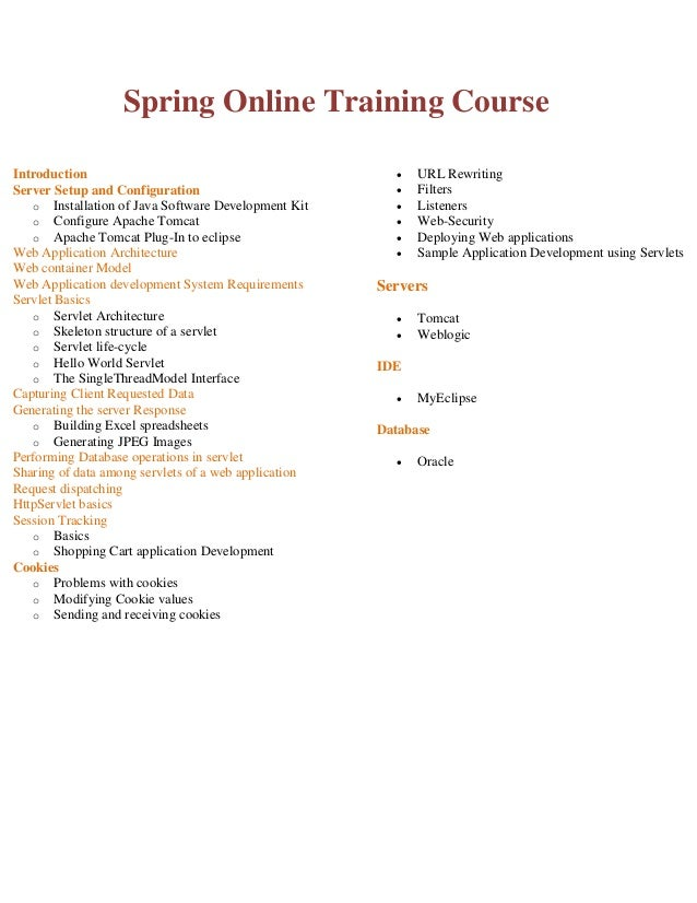Spring Online Training Course Introduction Server Setup and Configuration o Installation of Java Software Development Kit ...