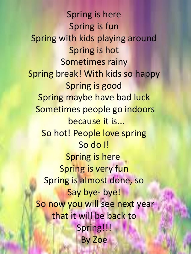 Spring Poems For Kids 3