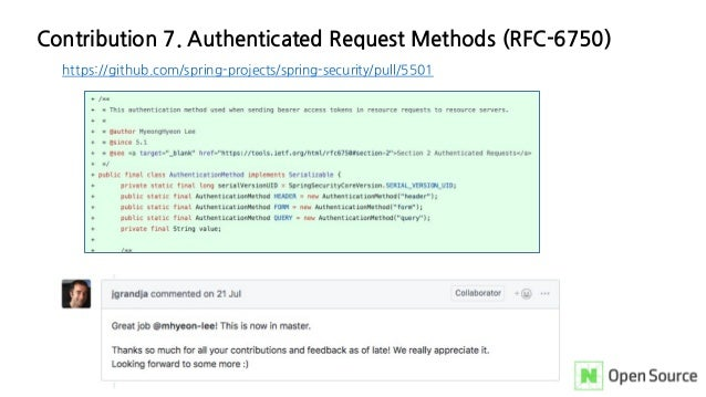 Contribution 7. Authenticated Request Methods (RFC-6750) https://github.com/spring-projects/spring-security/pull/5501