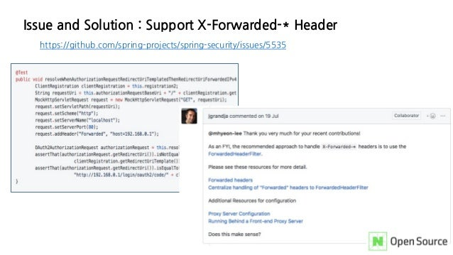 Issue and Solution : Support X-Forwarded-* Header https://github.com/spring-projects/spring-security/issues/5535