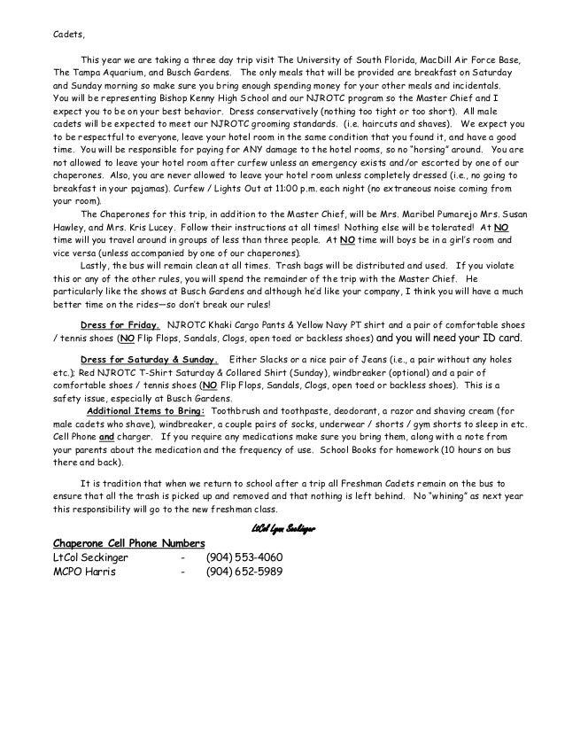 Bishop Kenny NJROTC Spring Trip Instructions for the Cadets Slide 2