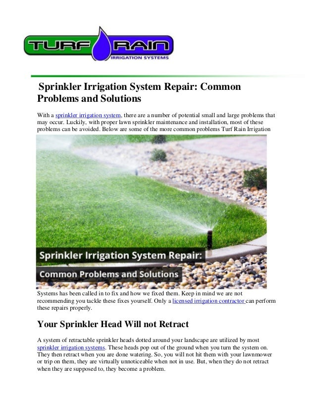 Sprinkler Irrigation System Repair Common Problems And