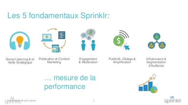 © 2015 Sprinklr. All rights reserved. Les 5 fondamentaux Sprinklr: 1 … mesure de la performance Social Listening & et Veil...
