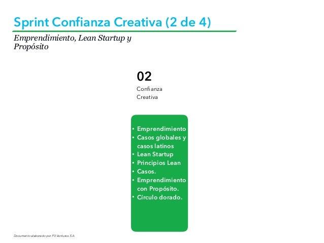 Documento elaborado por P3 Ventures S.A. Sprint Confianza Creativa (2 de 4) 02 Confianza Creativa • Emprendimiento • Casos g...