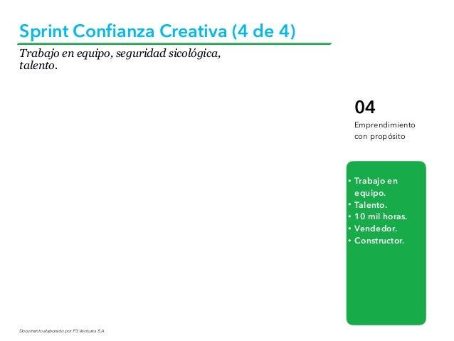 Documento elaborado por P3 Ventures S.A. Sprint Confianza Creativa (4 de 4) 04 Emprendimiento con propósito • Trabajo en eq...