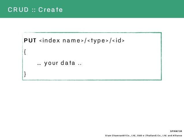 SPRINT3R Siam Chamnankit Co., Ltd., Odd-e (Thailand) Co., Ltd. and Alliance CRUD :: Create PUT <index name>/<type>/<id> { ...