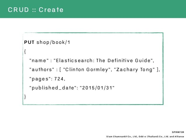 "SPRINT3R Siam Chamnankit Co., Ltd., Odd-e (Thailand) Co., Ltd. and Alliance CRUD :: Create PUT shop/book/1 { ""name"" : ""Ela..."