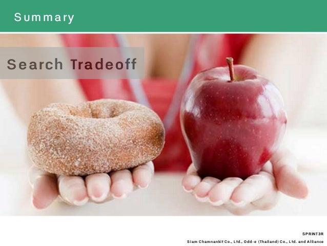 Summary SPRINT3R Siam Chamnankit Co., Ltd., Odd-e (Thailand) Co., Ltd. and Alliance Search Tradeoff