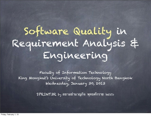 Software Quality in             Requirement Analysis &                   Engineering                              Faculty ...