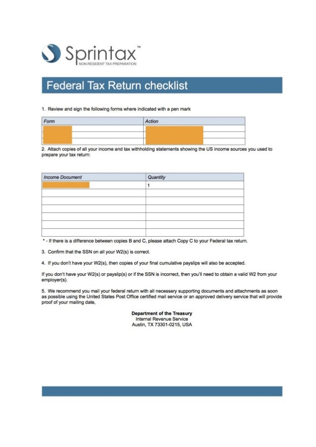 sprintax federal tax filing checklist + reviews