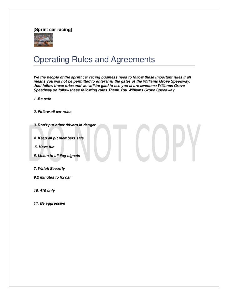 [Sprint car racing]Operating Rules and AgreementsWe the people of the sprint car racing business need to follow these impo...