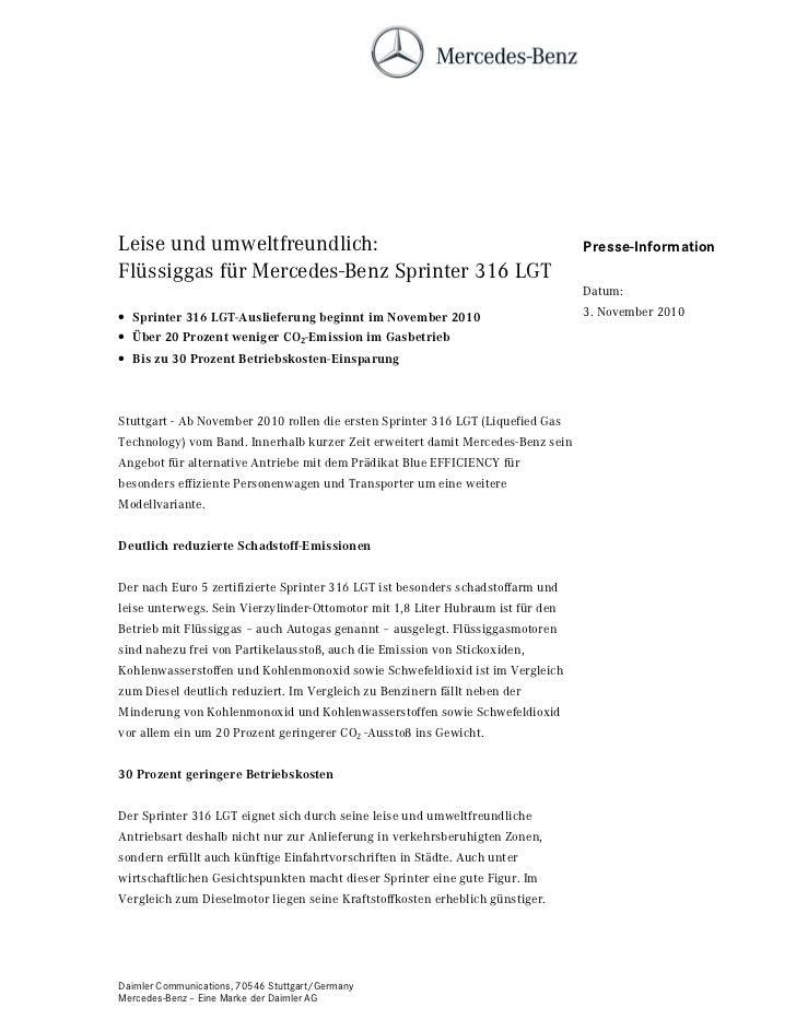 Leise und umweltfreundlich:                                                      Presse-InformationFlüssiggas für Mercedes...