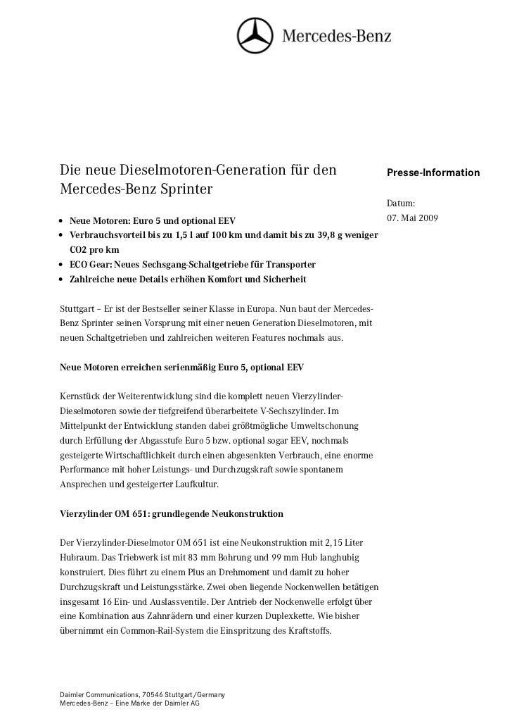 Die neue Dieselmotoren-Generation für den                                           Presse-InformationMercedes-Benz Sprint...
