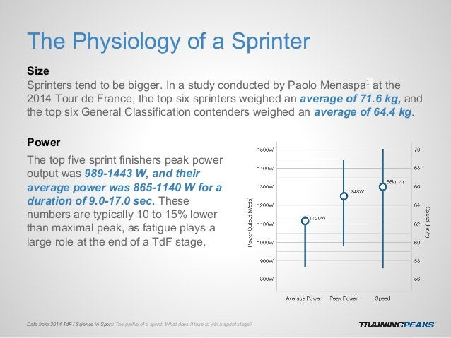 The Physiology of a Sprinter Size Sprinters tend to be bigger. In a study conducted by Paolo Menaspa1 at the 2014 Tour de ...