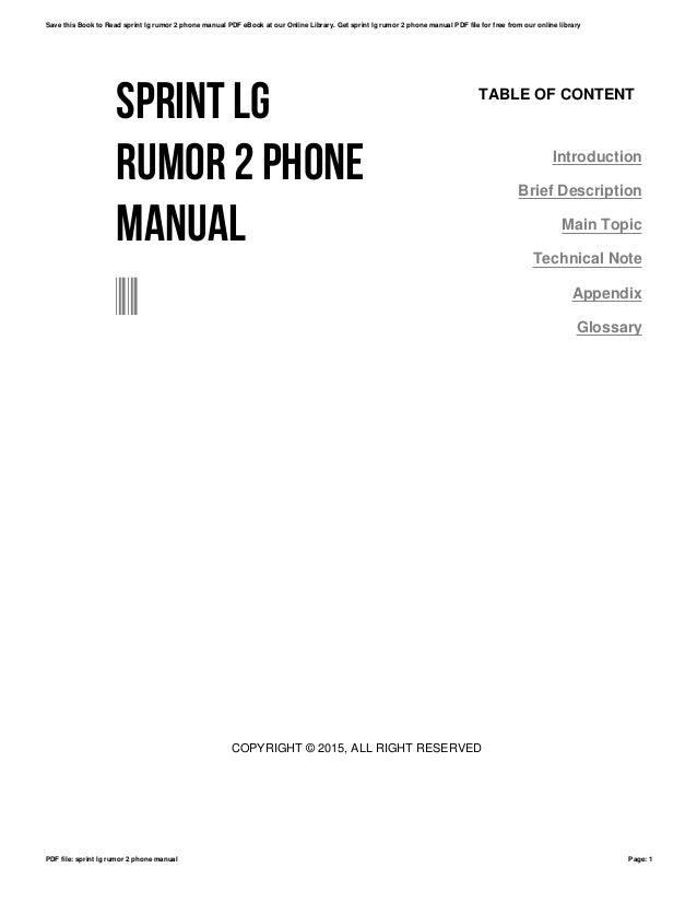 sprint lg rumor 2 phone manual rh slideshare net Sprint LG Rumor LG Rumor User Guide