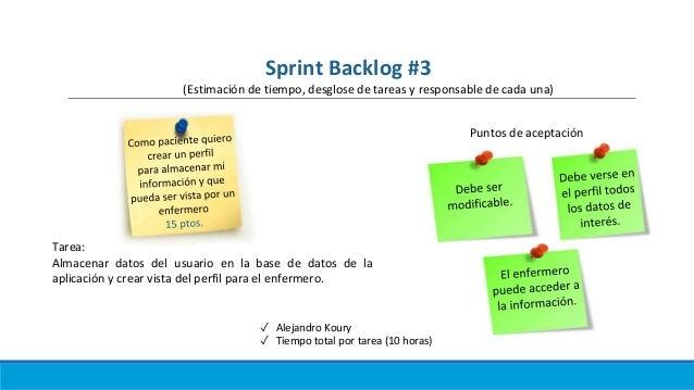 ✓ Alejandro Koury ✓ Tiempo total por tarea (10 horas) Puntos de aceptación Tarea: Almacenar datos del usuario en la base d...