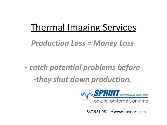 Thermal Imaging Services Production Loss = Money Loss - catch potential problems before -they shut down production. 847.98...