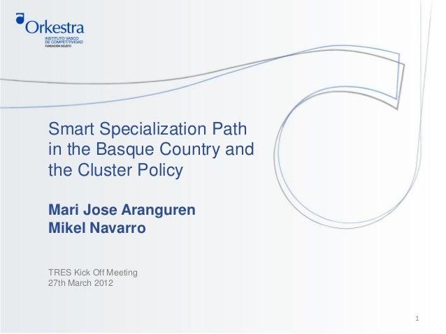 Smart Specialization Pathin the Basque Country andthe Cluster PolicyMari Jose ArangurenMikel NavarroTRES Kick Off Meeting2...