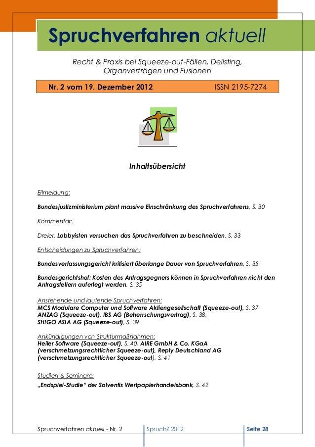Spruchverfahren aktuell              Recht & Praxis bei Squeeze-out-Fällen, Delisting,                      Organverträgen...