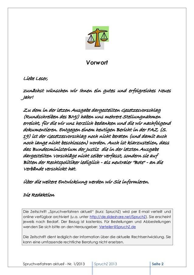 Spruchverfahren aktuell (SpruchZ) Nr. 1/2013 Slide 2
