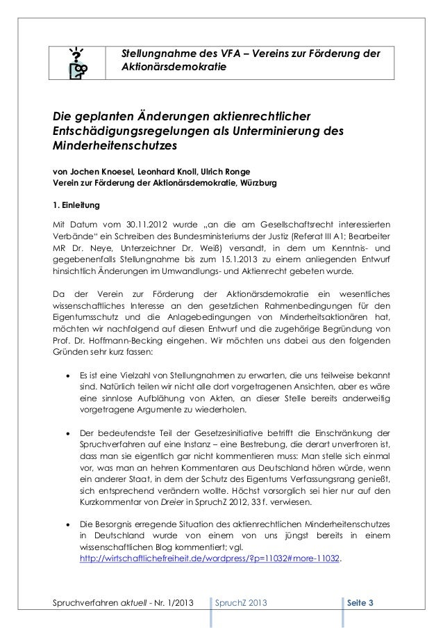Spruchverfahren aktuell (SpruchZ) Nr. 1/2013 Slide 3