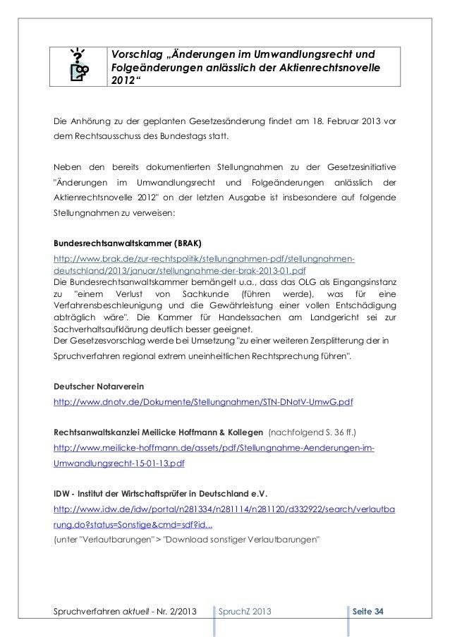 Spruchverfahren aktuell (SpruchZ) Nr. 2/2013 Slide 2
