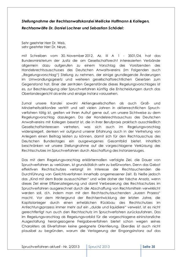 Spruchverfahren aktuell (SpruchZ) Nr. 2/2013 Slide 3