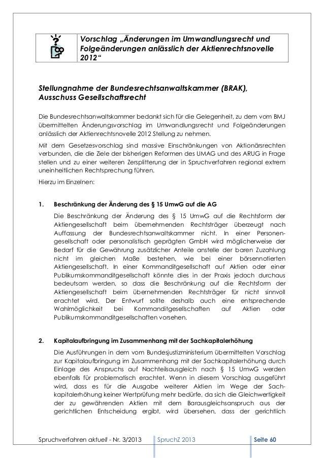 Spruchverfahren aktuell (SpruchZ) Nr. 3/2013 Slide 2