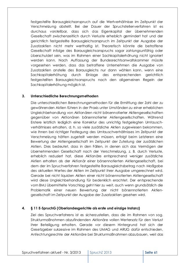 Spruchverfahren aktuell (SpruchZ) Nr. 3/2013 Slide 3