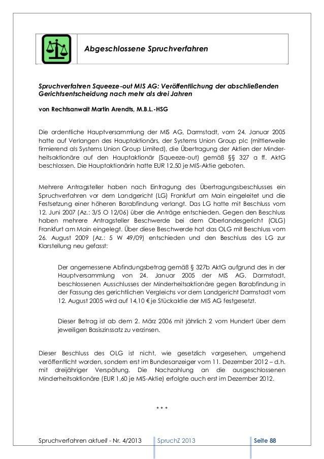 Abgeschlossene SpruchverfahrenSpruchverfahren Squeeze-out MIS AG: Veröffentlichung der abschließendenGerichtsentscheidung ...