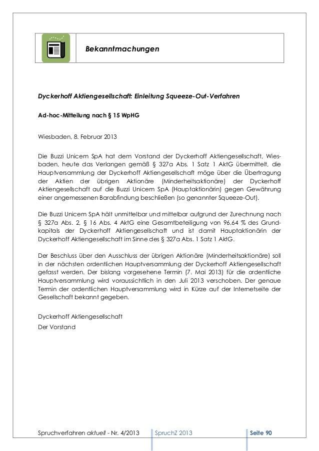 BekanntmachungenDyckerhoff Aktiengesellschaft: Einleitung Squeeze-Out-VerfahrenAd-hoc-Mitteilung nach § 15 WpHGWiesbaden, ...