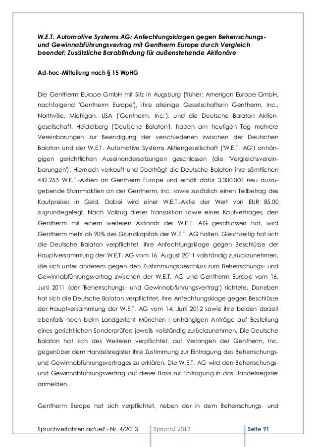 W.E.T. Automotive Systems AG: Anfechtungsklagen gegen Beherrschungs-und Gewinnabführungsvertrag mit Gentherm Europe durch ...