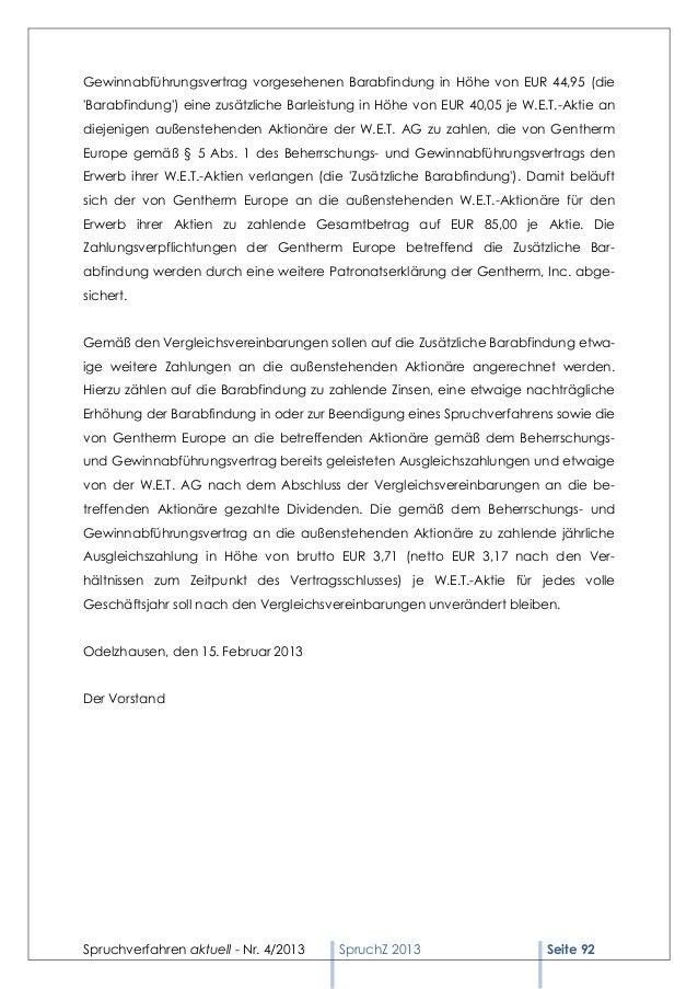 Gewinnabführungsvertrag vorgesehenen Barabfindung in Höhe von EUR 44,95 (dieBarabfindung) eine zusätzliche Barleistung in ...