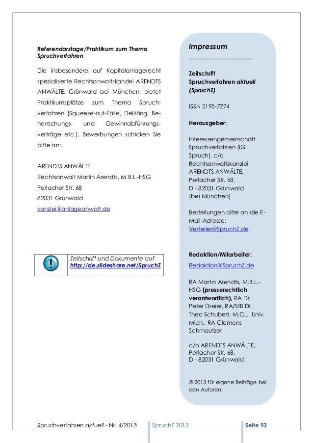 Referendarstage/Praktikum zum Thema                       ImpressumSpruchverfahren                                        ...