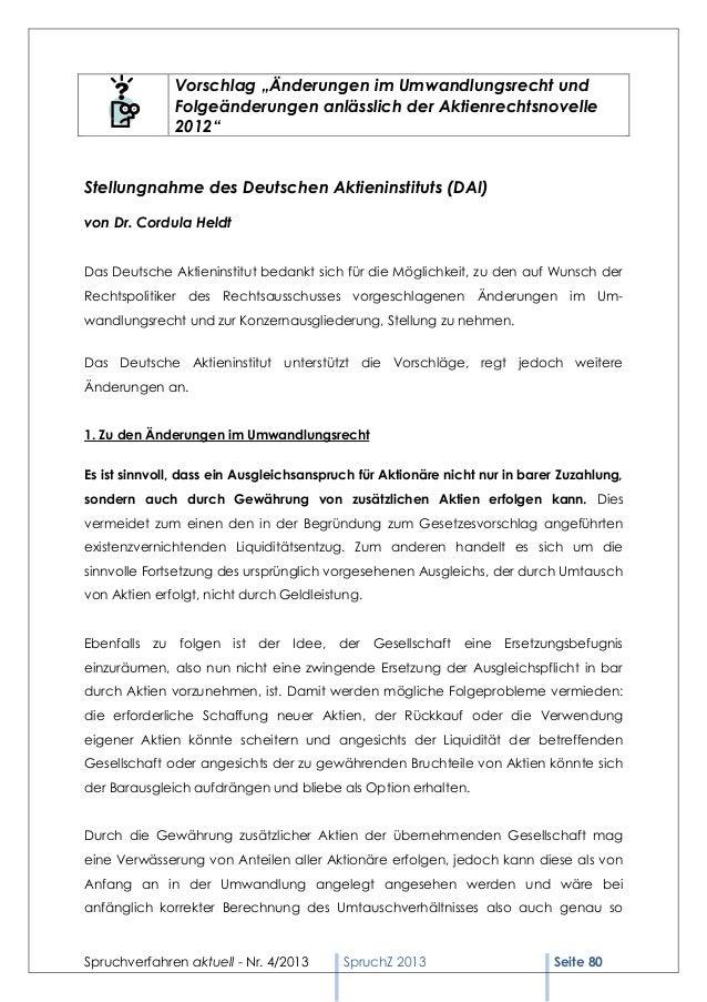 """Vorschlag """"Änderungen im Umwandlungsrecht und              Folgeänderungen anlässlich der Aktienrechtsnovelle             ..."""