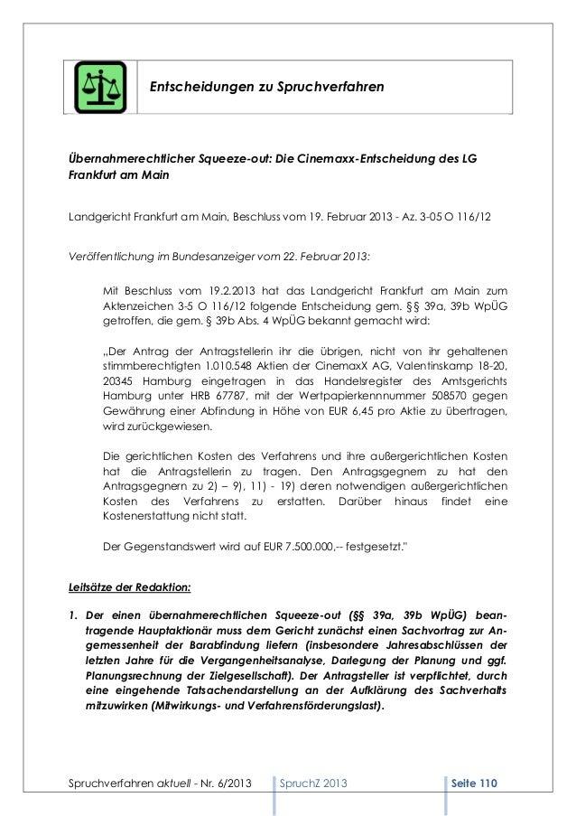 Spruchverfahren aktuell (SpruchZ) Nr. 6/2013 Slide 2