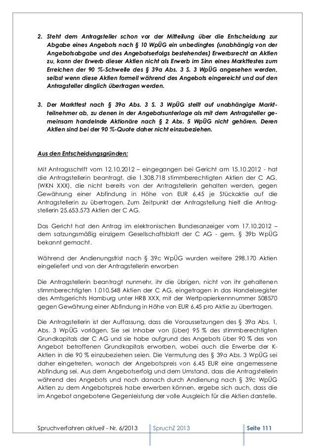 Spruchverfahren aktuell (SpruchZ) Nr. 6/2013 Slide 3
