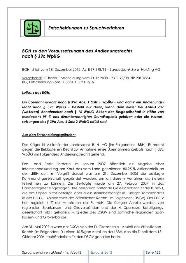 Spruchverfahren aktuell (SpruchZ) Nr. 7/2013 Slide 2