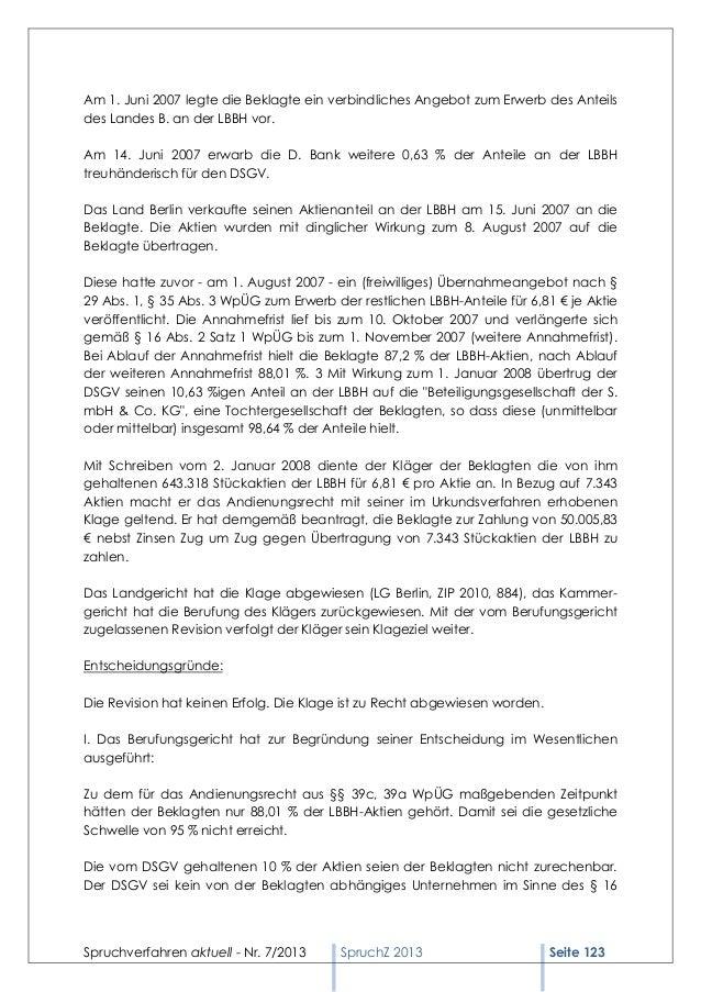Spruchverfahren aktuell (SpruchZ) Nr. 7/2013 Slide 3