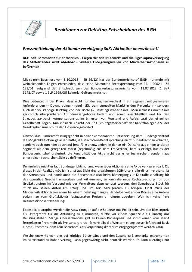 Reaktionen zur Delisting-Entscheidung des BGH  Pressemitteilung der Aktionärsvereinigung SdK: Aktionäre unerwünscht! BGH h...