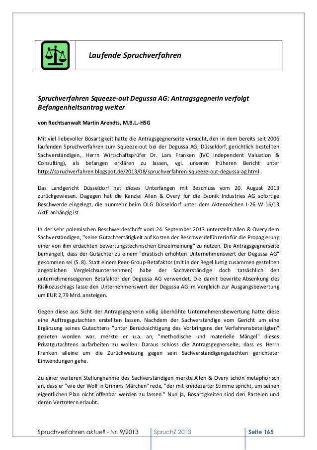 Laufende Spruchverfahren  Spruchverfahren Squeeze-out Degussa AG: Antragsgegnerin verfolgt Befangenheitsantrag weiter von ...