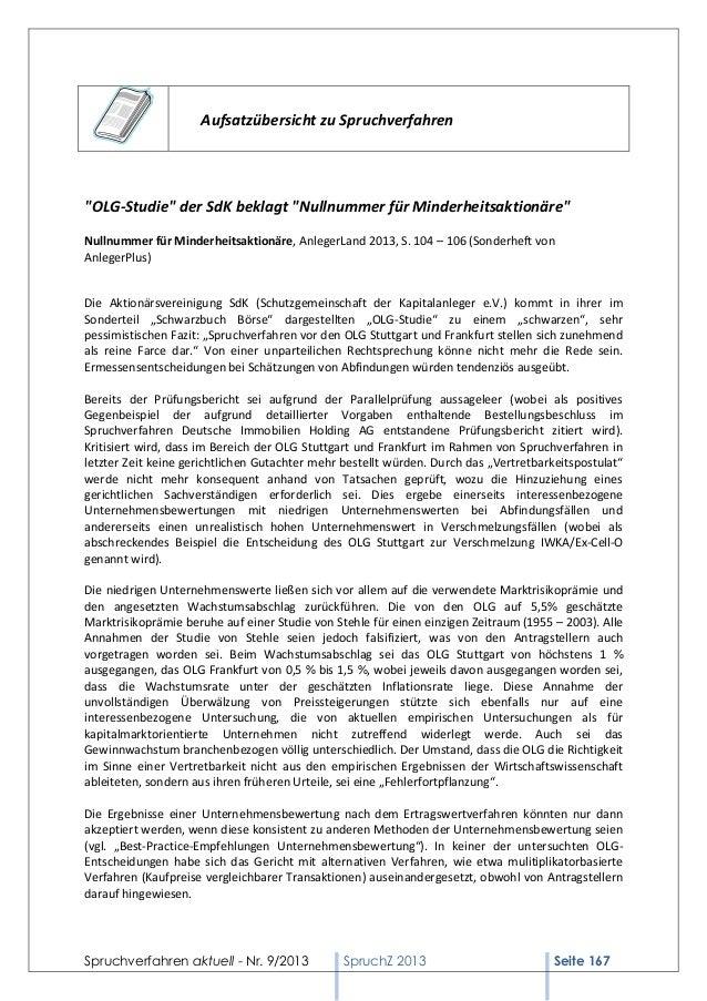 """Aufsatzübersicht zu Spruchverfahren  """"OLG-Studie"""" der SdK beklagt """"Nullnummer für Minderheitsaktionäre"""" Nullnummer für Min..."""