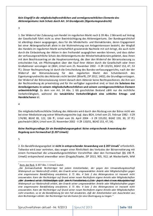 Kein Eingriff in die mitgliedschaftsrechtlichen und vermögensrechtlichen Elemente des Aktieneigentums: kein Schutz durch A...