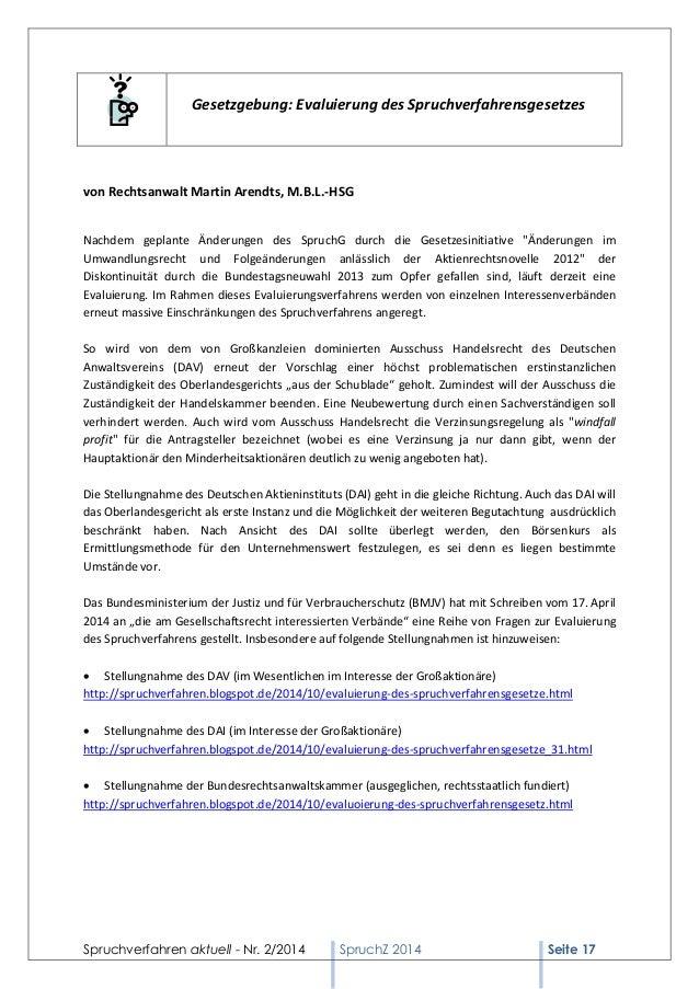 Spruchverfahren aktuell - Nr. 2/2014  SpruchZ 2014 Seite 17  Gesetzgebung: Evaluierung des Spruchverfahrensgesetzes  von R...