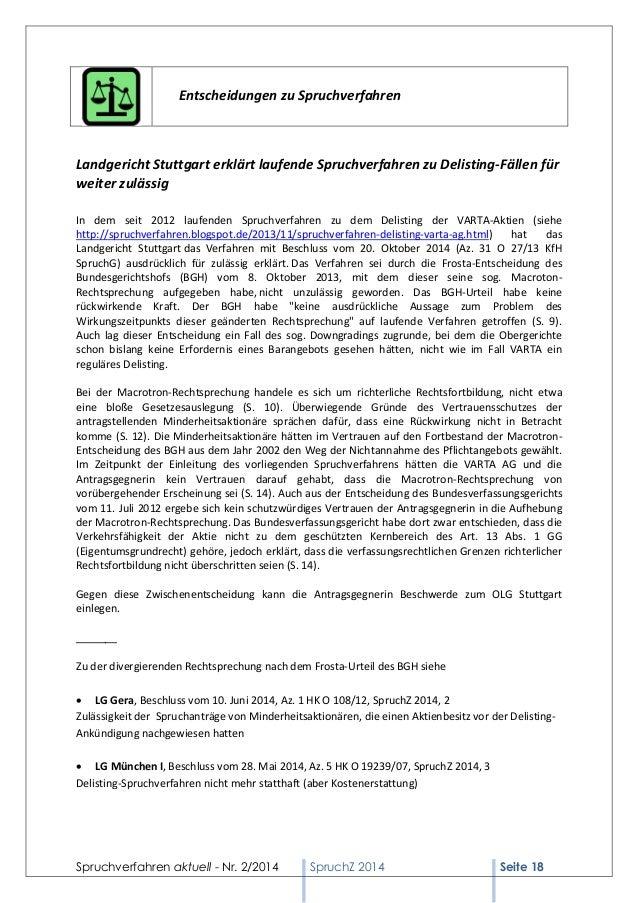 Spruchverfahren aktuell - Nr. 2/2014  SpruchZ 2014 Seite 18  Entscheidungen zu Spruchverfahren  Landgericht Stuttgart erkl...