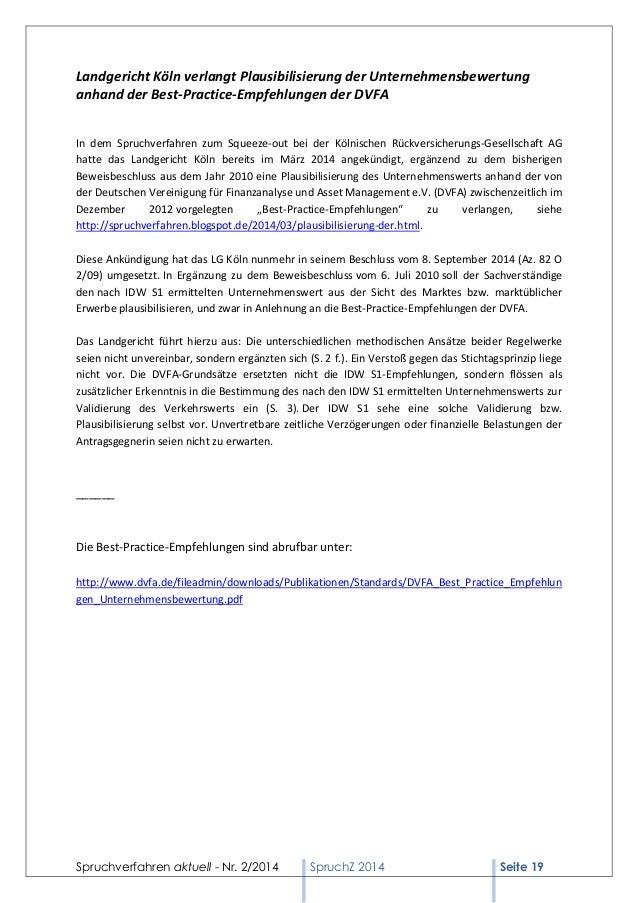 Spruchverfahren aktuell - Nr. 2/2014  SpruchZ 2014 Seite 19  Landgericht Köln verlangt Plausibilisierung der Unternehmensb...
