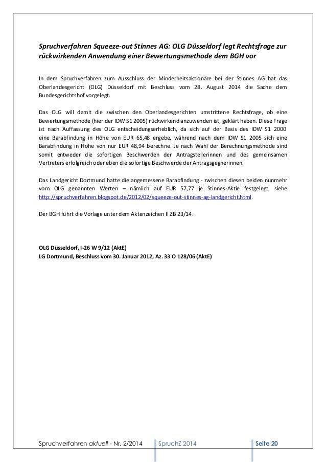 Spruchverfahren aktuell - Nr. 2/2014  SpruchZ 2014 Seite 20  Spruchverfahren Squeeze-out Stinnes AG: OLG Düsseldorf legt R...