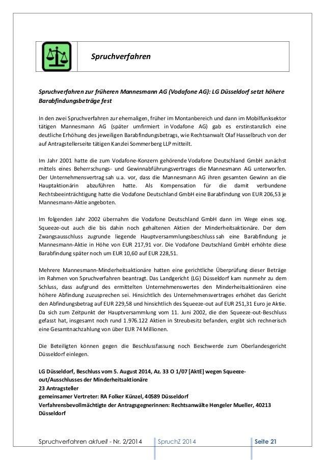Spruchverfahren aktuell - Nr. 2/2014  SpruchZ 2014 Seite 21  Spruchverfahren  Spruchverfahren zur früheren Mannesmann AG (...