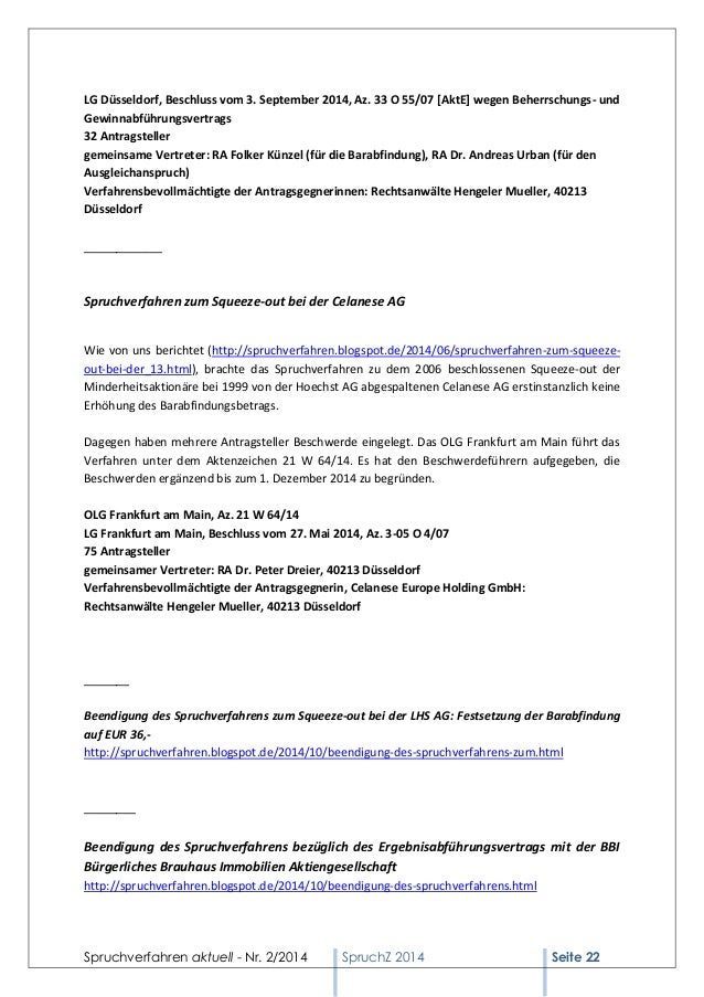 Spruchverfahren aktuell - Nr. 2/2014  SpruchZ 2014 Seite 22  LG Düsseldorf, Beschluss vom 3. September 2014, Az. 33 O 55/0...